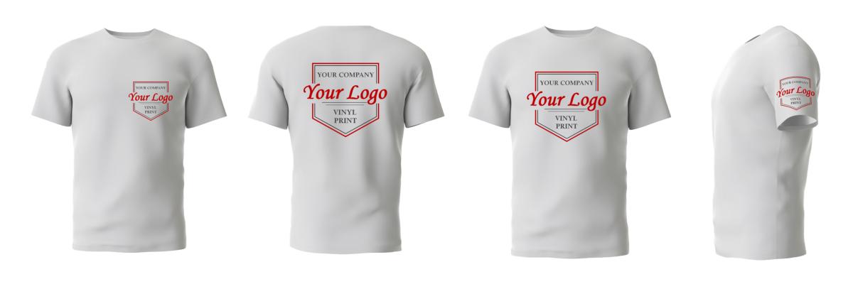 custom logo options, tshirt logo, top logo, vinyl print, embroidery, branded logo